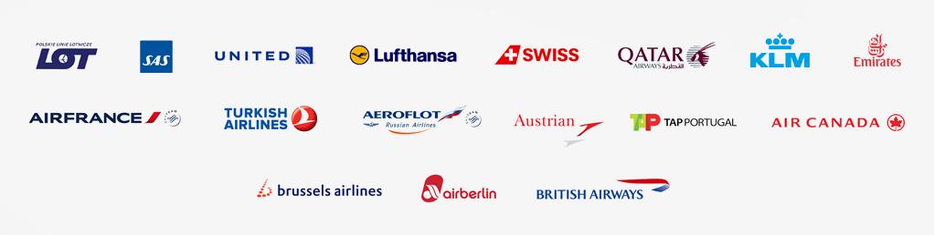 Crosstravel Bydgoszcz - loga linii lotniczych LOT RYANAIR